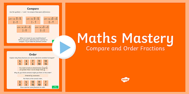 Year 6 Fractions Compare and Order Maths Mastery Activities PowerPoint