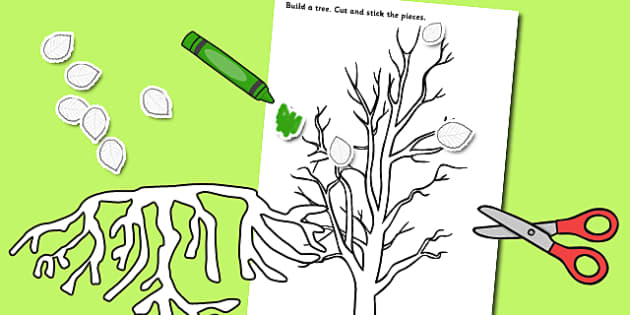 Tree Parts Cutting and Sticking Activity - trees, cut, stick