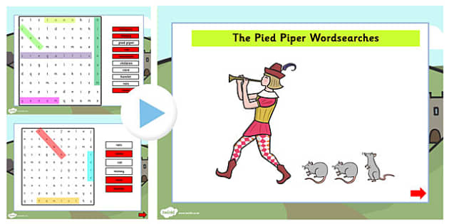The Pied Piper Interactive Wordsearch - wordsearch, pied piper