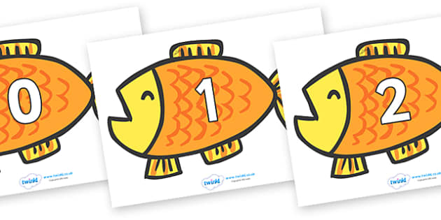 Numbers 0-100 on Goldfish to Support Teaching on Brown Bear, Brown Bear - 0-100, foundation stage numeracy, Number recognition, Number flashcards, counting, number frieze, Display numbers, number posters