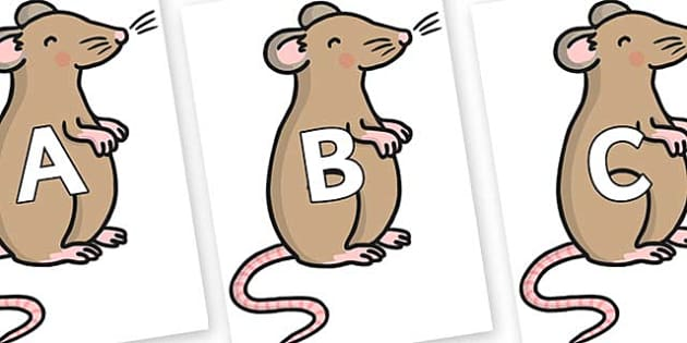 A-Z Alphabet on Mouse - A-Z, A4, display, Alphabet frieze, Display letters, Letter posters, A-Z letters, Alphabet flashcards
