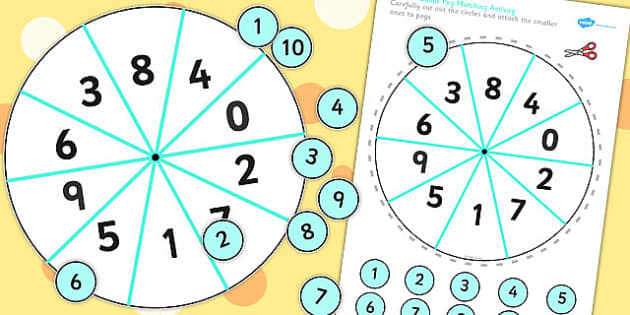 Number Bondsto 10  Peg Activity - activities,, game, games