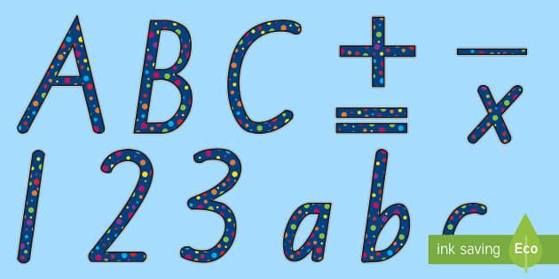 Polka Dot Display Lettering - New Zealand Back to School, polka dots, dotty, spotty, display