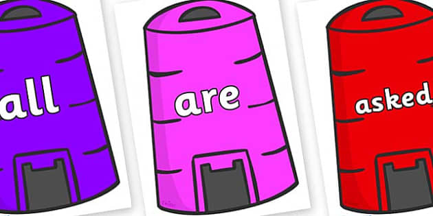 Tricky Words on Recycling Bins - Tricky words, DfES Letters and Sounds, Letters and sounds, display, words
