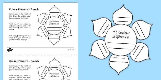 MFL French Colour Flowers Activity Sheet, worksheet