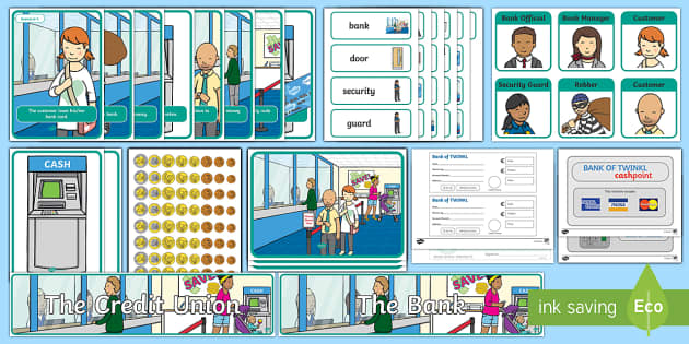 Aistear Pack The  Credit Union/The Bank Display Pack - Aistear Resources Pack, Aistear, Play Rota, Credit Union, Bank, Ireland, ROI, Irish