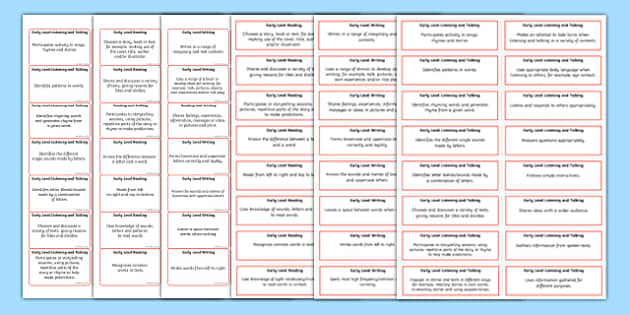 CfE Early Level Literacy and English Benchmarks Sticker Pack