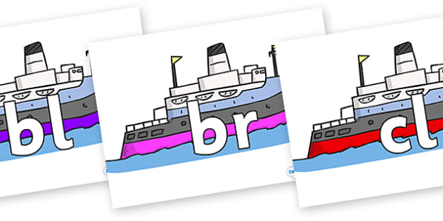 Initial Letter Blends on Boats - Initial Letters, initial letter, letter blend, letter blends, consonant, consonants, digraph, trigraph, literacy, alphabet, letters, foundation stage literacy