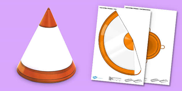 Real Life Object 3D Shapes Cone Paper Model - craft, shapes, 3d, cone, real