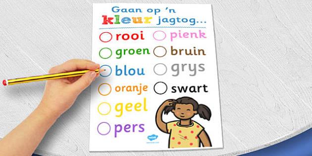 Afrikaans Colour Hunt Worksheet - afrikaans, colour, hunt, sheet