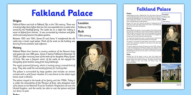 Falkland Palace Information Sheet - First Level, Social Studies, Scottish history, Scottish Castles