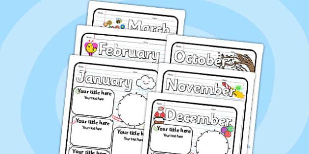 Monthly Writing Frames - monthly, writing, frames, writing frames