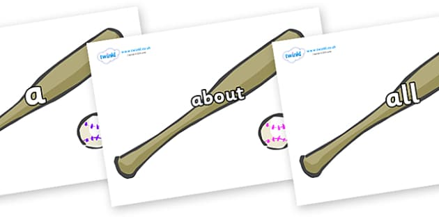 100 High Frequency Words on Bat and Ball - High frequency words, hfw, DfES Letters and Sounds, Letters and Sounds, display words