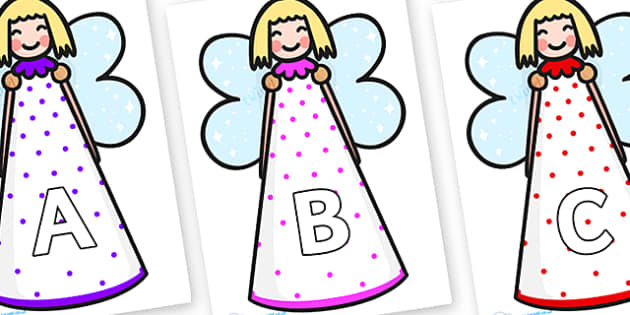 A-Z Alphabet on Christmas Angels - A-Z, A4, display, Alphabet frieze, Display letters, Letter posters, A-Z letters, Alphabet flashcards
