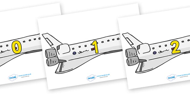 Numbers 0-100 on Space Shuttles - 0-100, foundation stage numeracy, Number recognition, Number flashcards, counting, number frieze, Display numbers, number posters