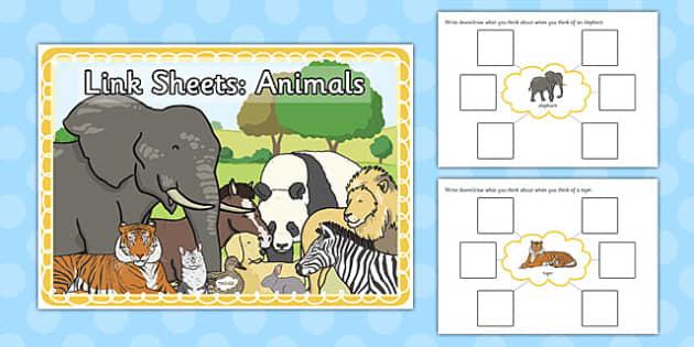 Link Sheets: Animals - link, sheets, animals, sen, label, describe