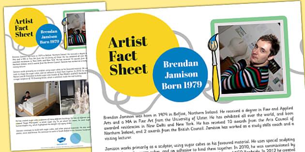 Artist Fact Sheet Brendan Jamison - brendan jamison, artist, fact