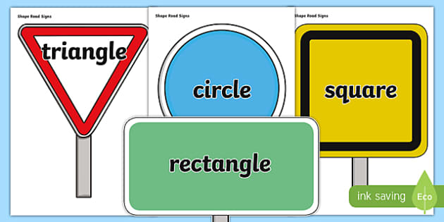 Shape Names on Road Signs - cfe, curriculum for excellence, shape names, road signs, display