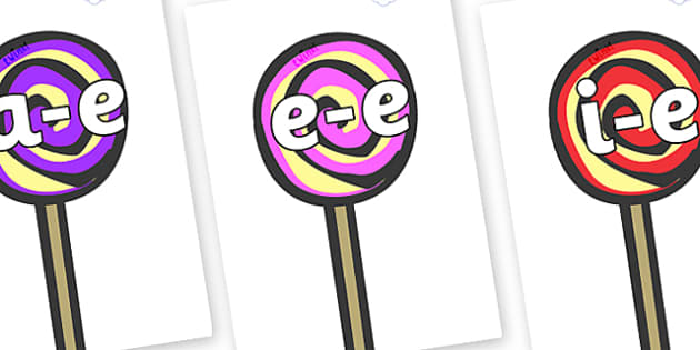Modifying E Letters on Lollipops to Support Teaching on The Very Hungry Caterpillar - Modifying E, letters, modify, Phase 5, Phase five, alternative spellings for phonemes, DfES letters and Sounds