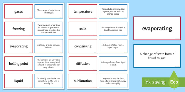 Particles and States of Matter Pairs Glossary Activity - Glossary, particles, freezing, evaporating, boiling point, liquid, gas