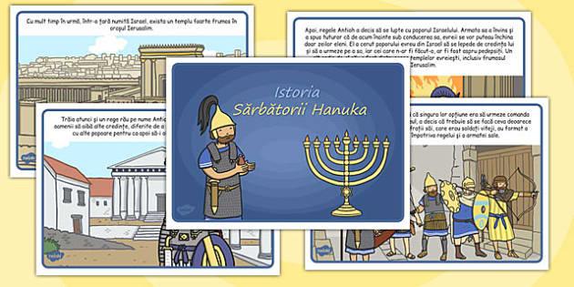 Istoria Sarbatorii Hanuka - poveste pe scurt ilustrata , Romanian