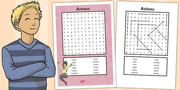 French Actions Word Search - french, word search, actions, words