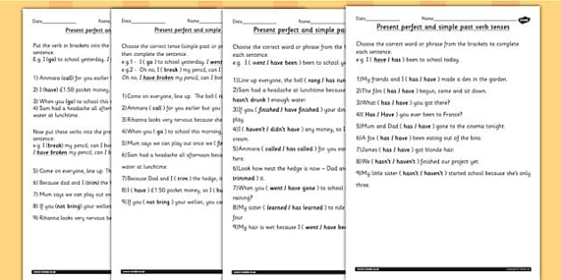 All Worksheets past and present tense worksheets ks2 : Using the Present Perfect Form of Verbs Contrast to Past Tense