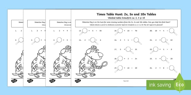 Times Tables Missing Numbers Activity Sheet Romanian/English - KS1, maths, tables, counting in twos, counting in fives, counting in tens, tables, multiplication, t