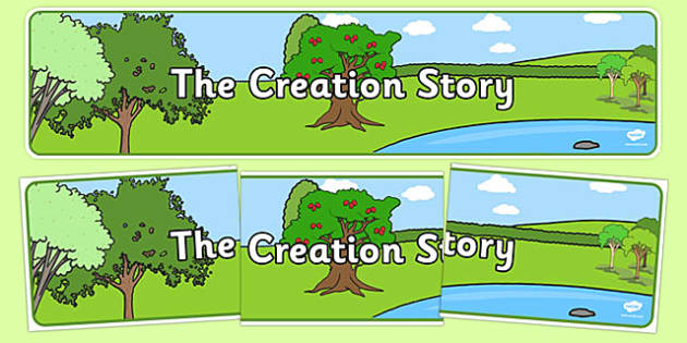 Adam and Eve Creation Story Display Banner - Adam, Eve, Eden, serpent, fruit, earth, garden, creation, creation story, display, banner, sign, poster, paradise, sea creatures, birds, stars, moon, sun, tree, evil, knowledge, animals, sky, night, day