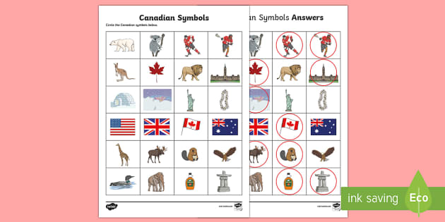 Circle the Canadian Symbols Activity Sheet - Uniquely Canadian, Canadian Symbols, animals, things that are Canadian, social studies, worksheet.
