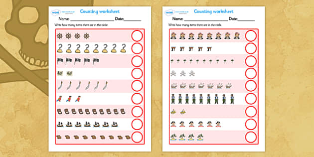 My Counting Worksheet (Pirates) - Counting worksheet, Pirate, pirates, counting, activity, how many, foundation numeracy, counting on, counting back, Flag, pirate bunting, treasure, ship, jolly roger, ship, island, ocean