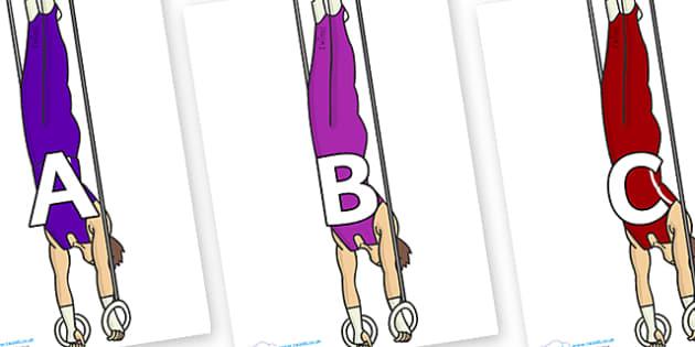 A-Z Alphabet on Gymnasts (Hoops) - A-Z, A4, display, Alphabet frieze, Display letters, Letter posters, A-Z letters, Alphabet flashcards