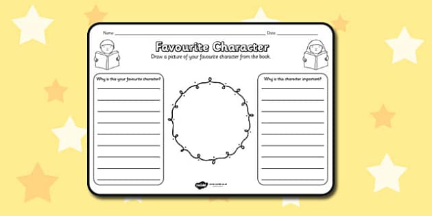 Favourite Character Comprehension Worksheet - worksheets, best