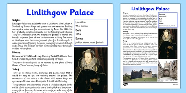 Linlithgow Palace Information Sheet - First Level, Social Studies, Scottish history, Scottish Castles