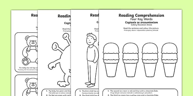 Reading Comprehension Four Key Word Activity Sheets Polish Translation - Reading comprehension, information carrying words, key words, worksheet