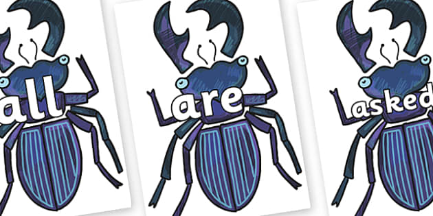 Tricky Words on Stag Beetle to Support Teaching on The Bad Tempered Ladybird - Tricky words, DfES Letters and Sounds, Letters and sounds, display, words