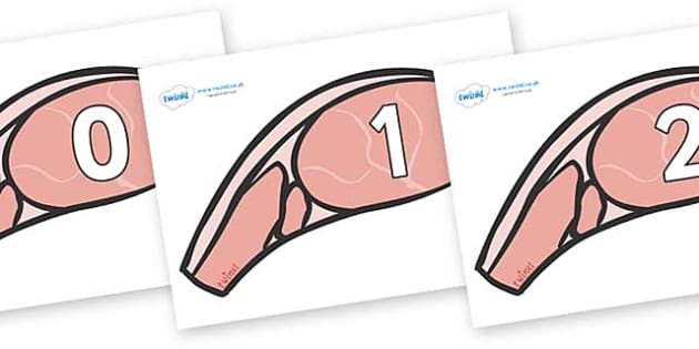 Numbers 0-50 on Bacon - 0-50, foundation stage numeracy, Number recognition, Number flashcards, counting, number frieze, Display numbers, number posters
