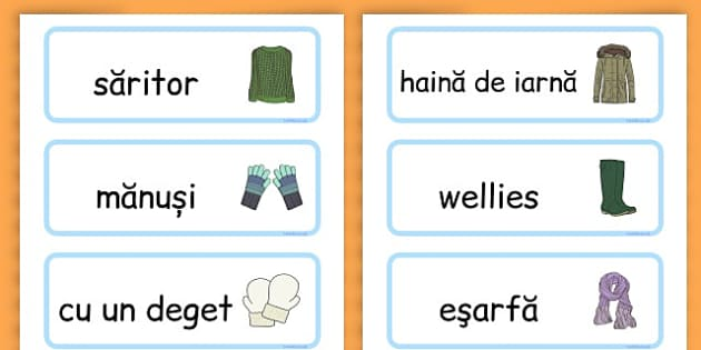 Winter Clothes Word Cards - winter clothes, word cards, winter, clothes - Romanian
