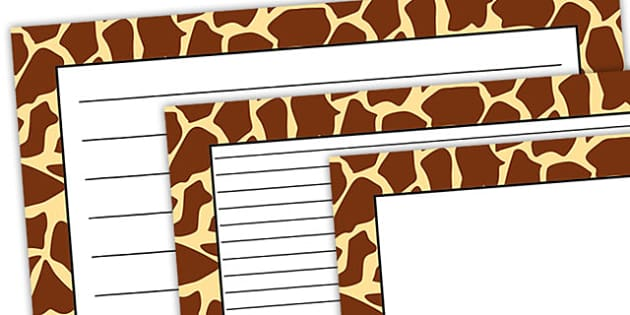 Giraffe Pattern Landscape Page Border - safari, safari page borders, giraffe page borders, giraffe pattern page borders, safari animal pattern page borders