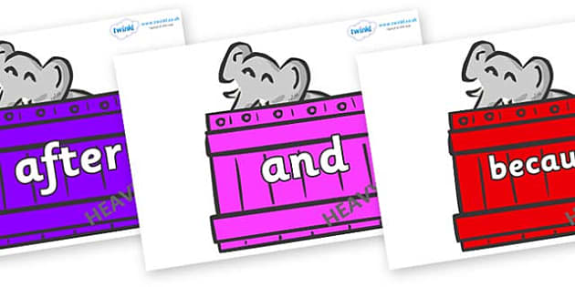 Connectives on Elephants (Crates) to Support Teaching on Dear Zoo - Connectives, VCOP, connective resources, connectives display words, connective displays