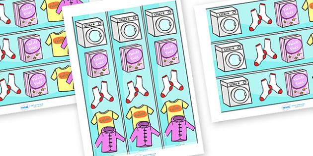Laundrette Role Play Display Borders - washing, laundrette, washing machine, wash, display border, classroom border, border, washing powder, clothes, socks, T-shirt, trousers