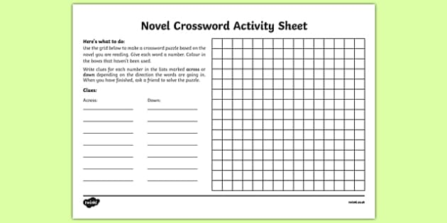 Novel Crossword Activity Sheet-Irish, worksheet