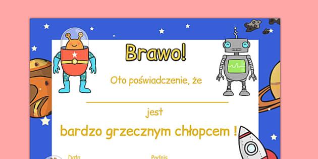 Certyfikat Grzeczny chłopiec po polsku - zachowanie