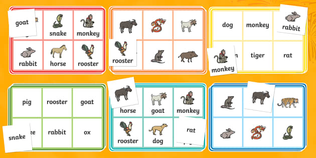 Chinese New Year Story Animals Bingo