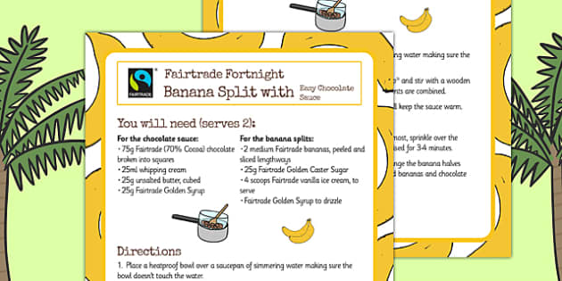 Fairtrade Fortnight Banana Split Recipe - fairtrade, recipe