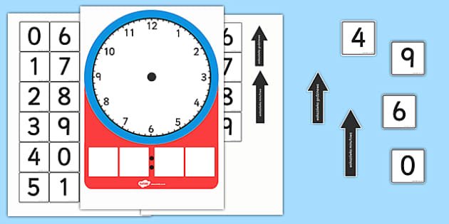 Zegar analogowy i karty do dopasowania po polsku - czas, godzina