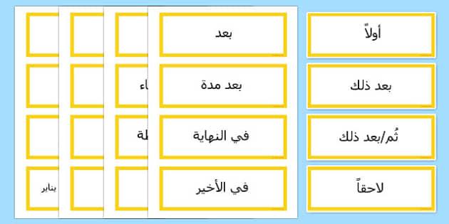 بطاقات أدوات ربط زمنية - موارد تعليمية، بطاقات تعليمية