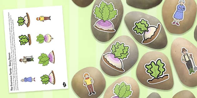 The Enormous Turnip Story Stone Image Cut Outs - story stone, cut outs