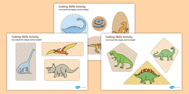 Dinosaur Themed Cutting Skills Activity Sheets - cut, fine motor skills