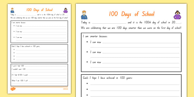 100 Days of School Activity Sheet, worksheet